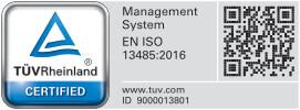 TUVRheinland Certified Management System EN ISO 13485:2016